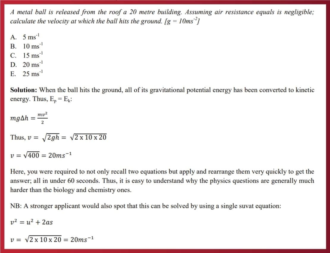 nsaa physics question with solution