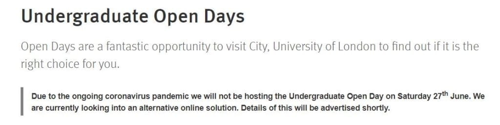University of London open day cancelled
