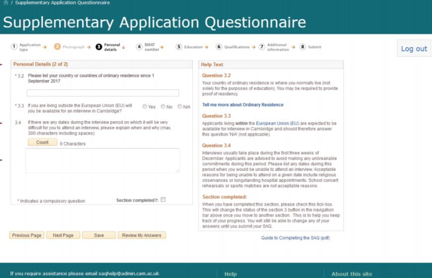 Cambridge university SAQ (supplementary application questionaire)