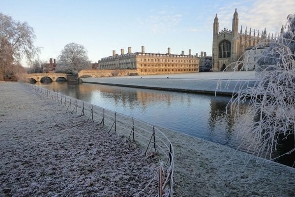 Clare College and King's College in the frost