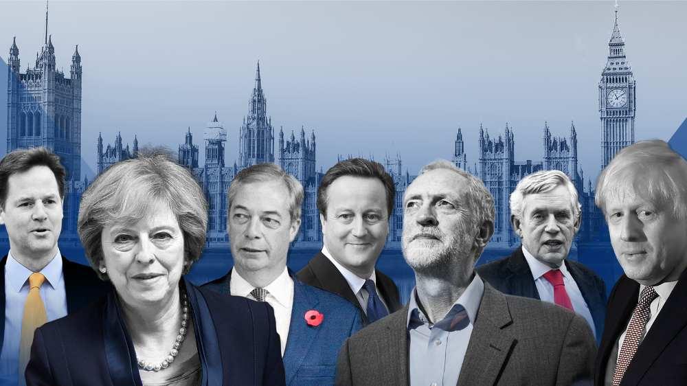 Nick Clegg, Theresa May, Nigel Farage, David Cameron, Jeremy Corbyn, Gordon Brown, Boris Johnson
